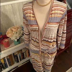 CHICOS Long Open Front Cardigan Sweater Sz 1 S
